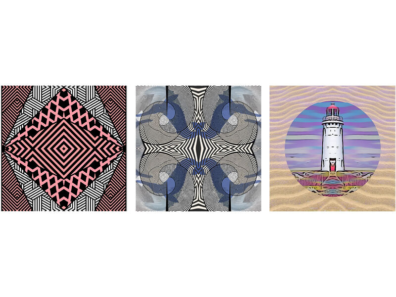 Warrnambool Art Gallery, Coolamon Shield, Whales (South West Victoria) and Lighthouse, digital prints on aluminium by Josh Muir.
