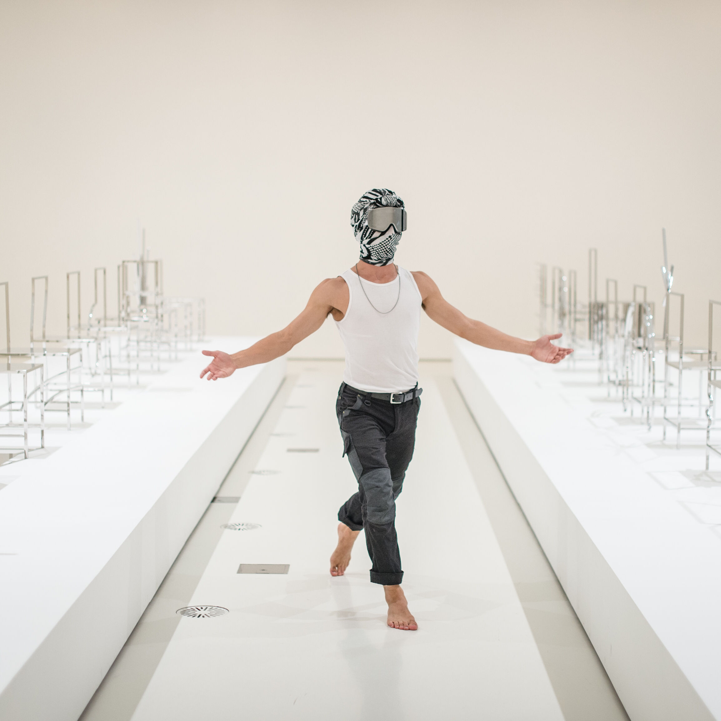 Chunky Move dancers performing inside Nendo's Manga Chairs, 2015 who are performing at part of NGV Triennial EXTRA Photo: Eugene Hyland