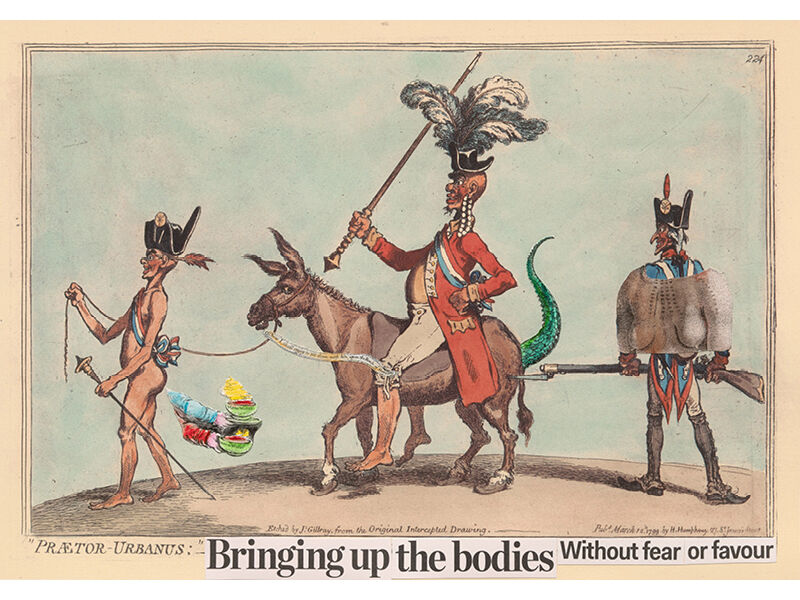 Brook Andrew, set of 8 satirical photolithographs, 2016. (Pictured: Brook Andrew, Bringing up the bodies Without fear or favour , 2016, four-colour photolithograph with collaged photolithograph elements and hand colour; edition of 30 + A/Ps, 49.0 × 70cm)