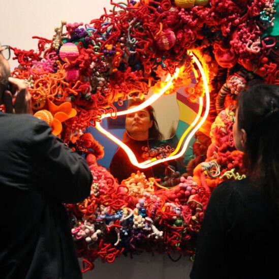 Craftivism Hiromi Tango Amygdala (Fireworks) 2016 neon and mixed media 120 x 140 x 40 cm Image courtesy the artist and Sullivan+Strumpf, Sydney/Singapore © the artist Installation view Mornington Peninsula Regional Gallery