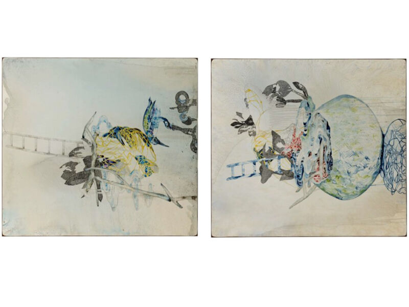 Belinda Fox, [Diptych] Still/Life VII (fill me up) & Still/Life II (too much) , 2016, watercolour and drawing on board.