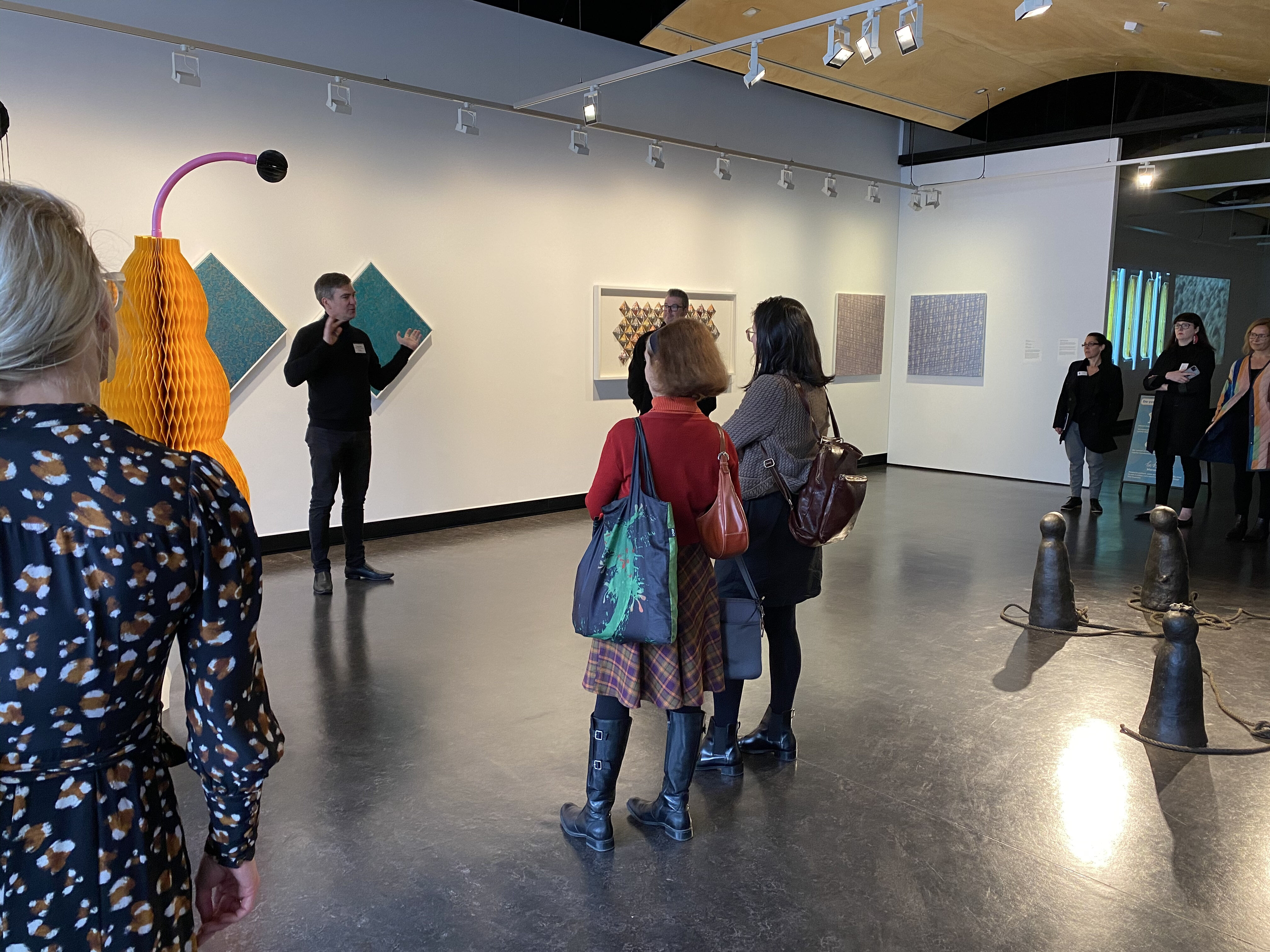 Victor Griss leads a tour if the Counihan Gallery
