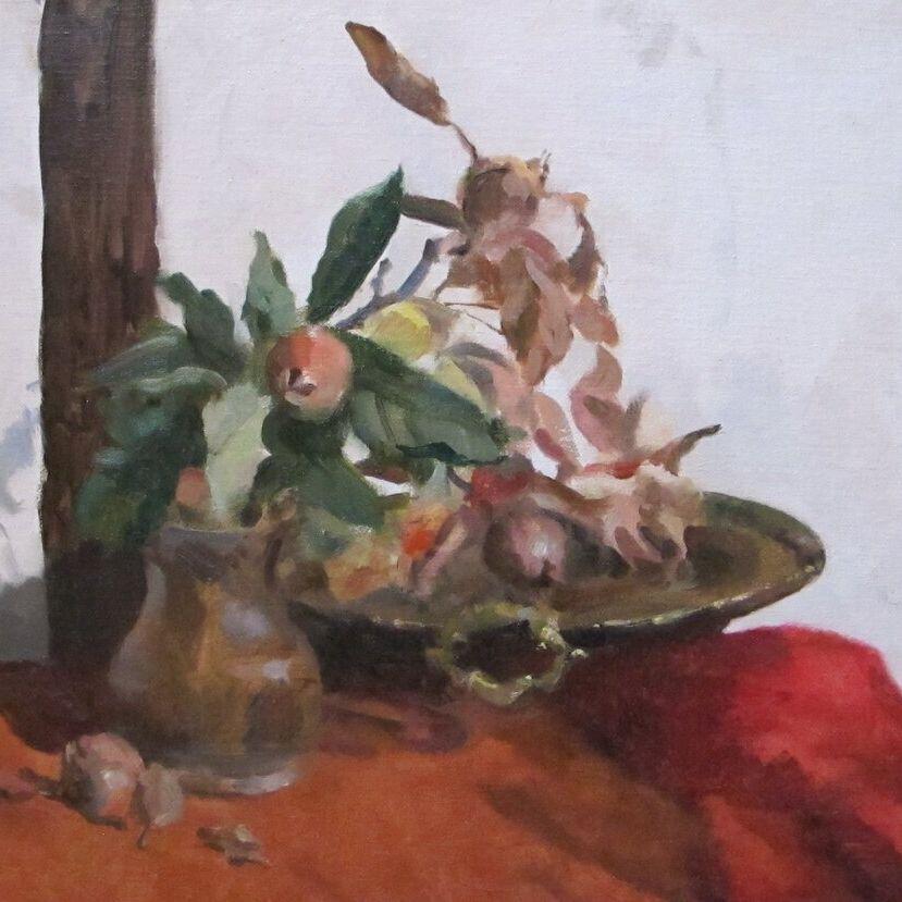 Fruit of the Medlar Tree, with Brazier, Angela Abbott, 2021, oil on linen on board, 40x46cm