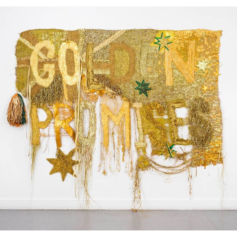 Raquel Ormella 'Wealth for toil #1' 2014. synthetic polymer paint, hessian, metallic thread and ribbon, 220 x 270 cm. Courtesy and © the artist, Milani Gallery, Brisbane and QUT, Brisbane