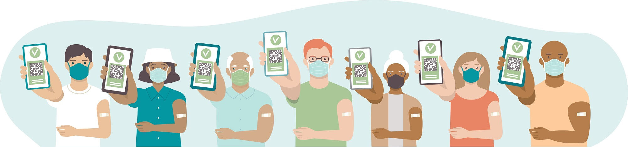 Vaccinated people showing vaccination certificates. Young man showing an app in mobile phone. Elderly woman hold printed immunization certificate with QR code.