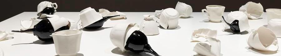 Yhonnie Scarce, Servant and Slave 2018 porcelain and hand-blown glass, dimensions variable courtesy the artist and This Is No Fantasy Dianne Tanzer + Nicola Stein, Melbourne, Image: Christian Capurro