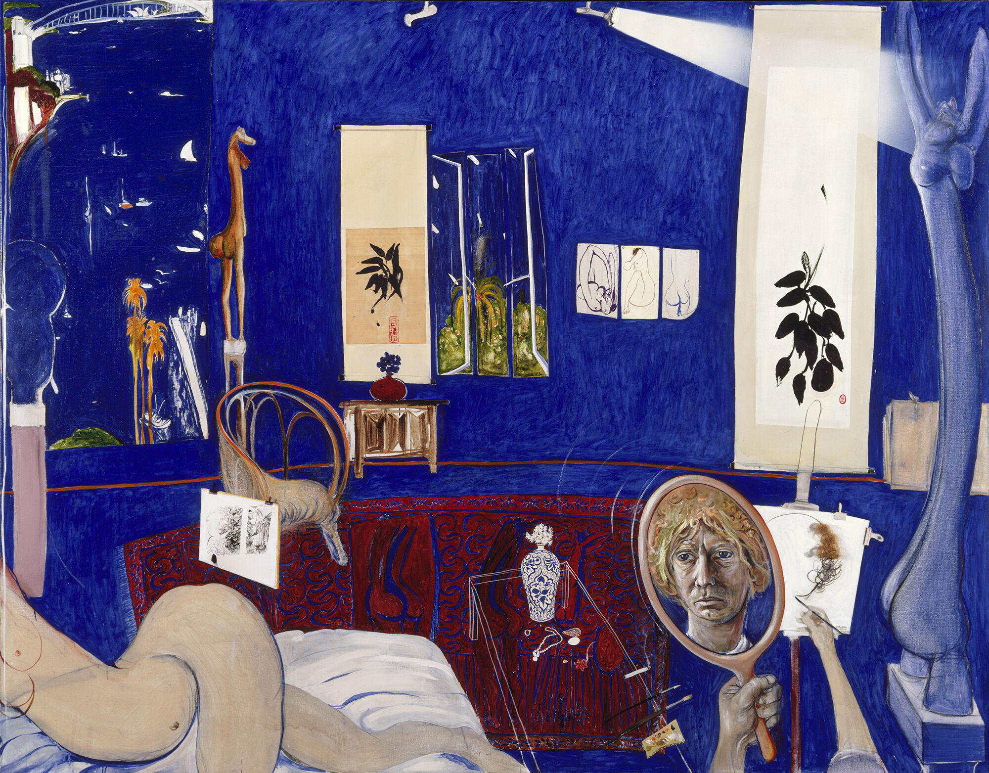 Brett Whiteley. Self portrait in the studio 1976. oil, collage, hair on canvas, 200.5 x 259 cm. Art Gallery of New South Wales. Purchased 1977 © Wendy Whiteley Photo: AGNSW