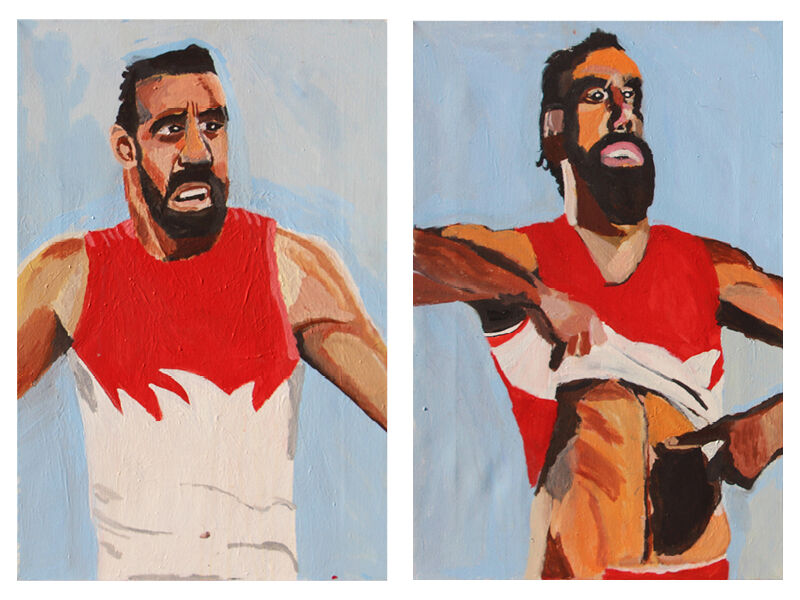 Shepparton Art Museum,diptych, Adam Goodes (Under Pressure) and Adam Goodes (Stand Strong) by Vincent Namatjira.