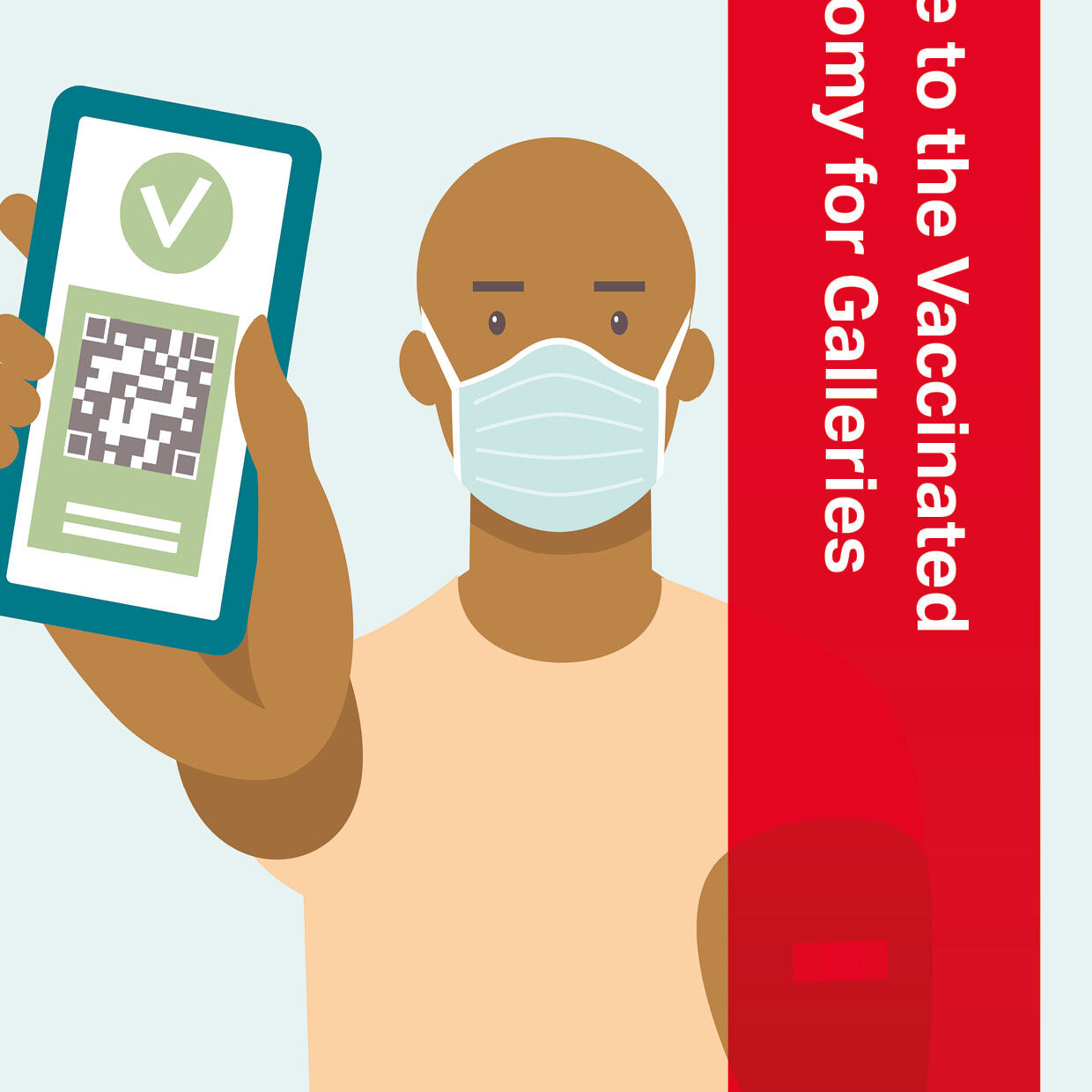 Cover of the PGAV Guide to the Vaccinated Economy for Galleries. Image shows a graphic of a bald man with brown skin wearing a face mask and holding up a mobile phone with a QR code and a green tick indicating he is vaccinated against COVID-19.