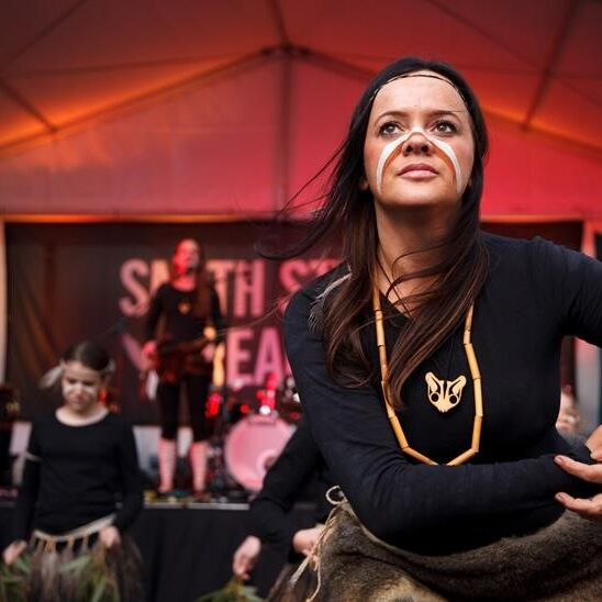 Stacie Piper and Djirri Djirri dancers at Smith Street Dreaming Festival. Photo: James Henry Wurundjeri and Dja Dja Wurrung woman and current Victorian NAIDOC Committee Chairperson Stacie Piper appointed as First Peoples Curator at Tarrawarra Museum of Art.