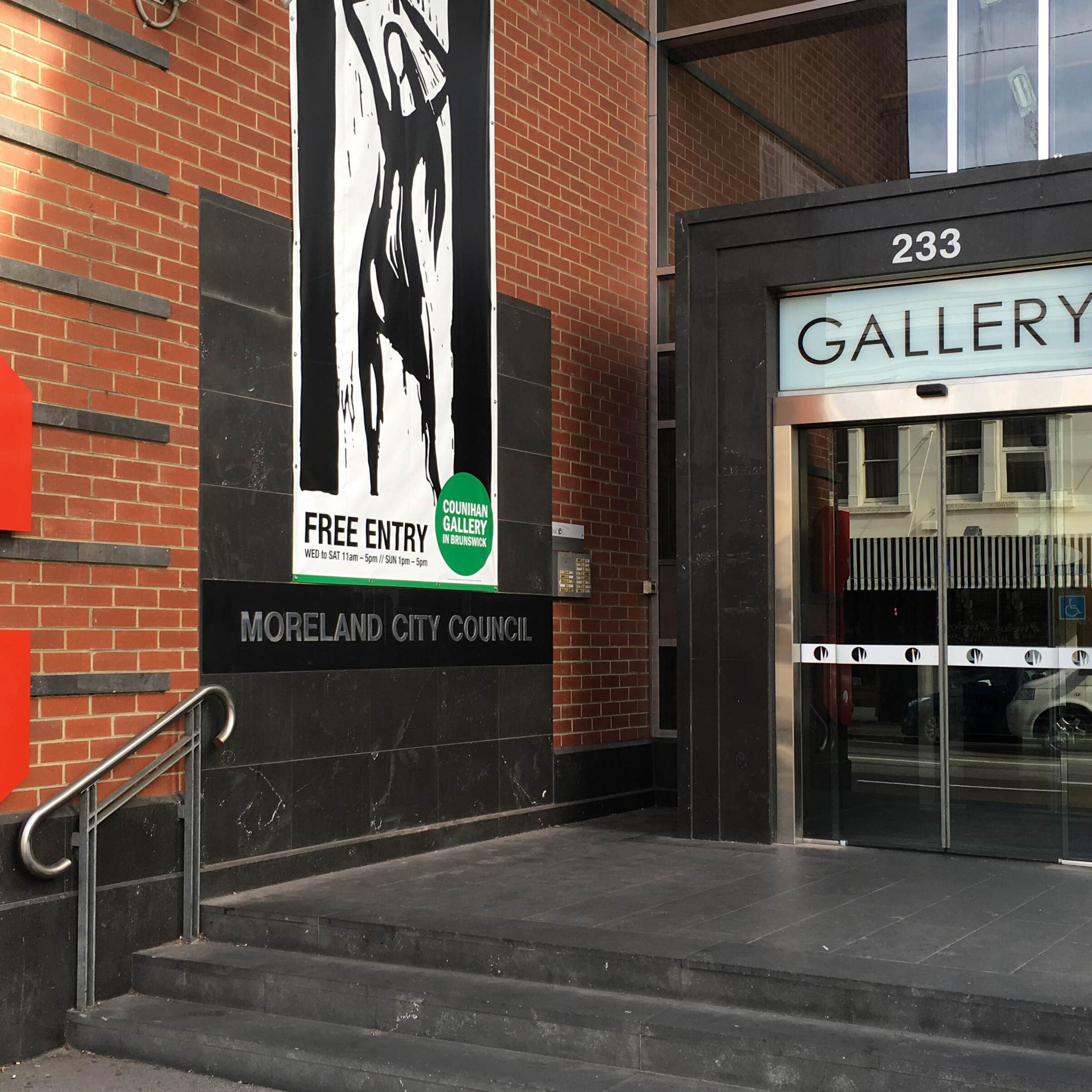 GALLERY, Counihan Gallery External with banner_CROP