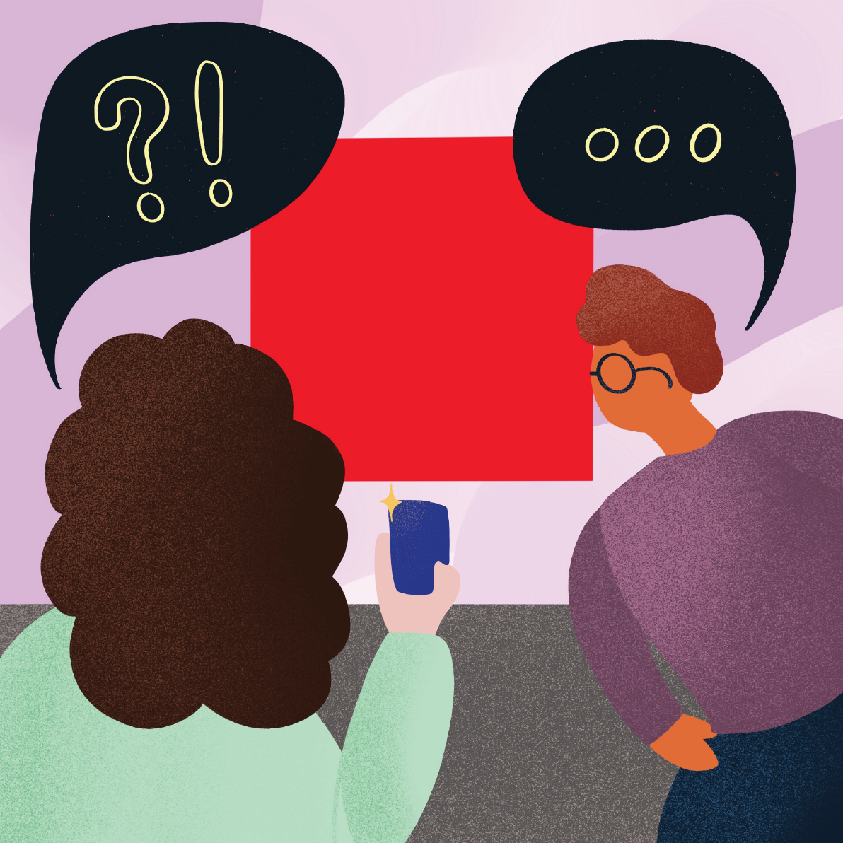 Image Credit: Vanessa Low Image description: a colourful illustration of two people in foreground looking at an artwork in the background. One is taking a photo on their phone, while both have speech bubbles above their heads filled with question and exclamation marks