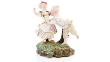Figure Group, A Boy And Girl At Play c.1750, Hochst, German. Porcelain. Herbert and May Shaw Bequest 0192.