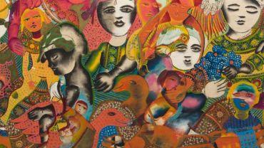 Mirka Mora, Untitled Mural (detail) c. 1966, mixed media 120 x 244 cm, image courtesy Leonard Joel © William Mora Galleries