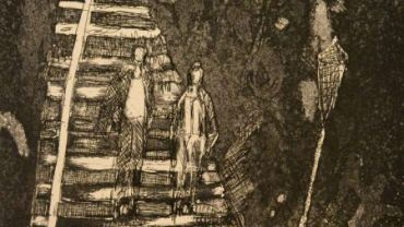 Judy Cassab, The stairs at Pont Marie, Ed 2/50, 1994, print. Wangaratta Art Gallery Collection. Donated through the Australian Government Cultural Gift Program by Peter Kampfner.