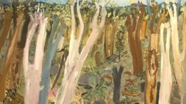 Andy Pye, Bushland looking at Buffalo, (detail) oil on composition board, 150 x 100cm. Image courtesy of artist.