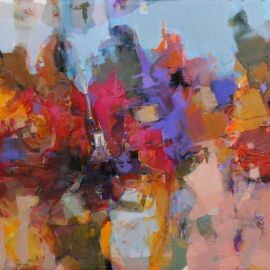 Expanse - Mohamed Abumeis _Colour, place and community_ 2018, oil on canvas, 90 x 120cm