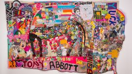 Image: Paul Yore, What a Horrid Fucking Mess, 2016, textile wall hanging; mixed media, 210 x 342 cm (irreg.), purchased with Ararat Rural City Council acquisition allocation, 2016. Collection of Ararat Gallery TAMA. Image courtesy of Ararat Gallery TAMA, Ararat Rural City Council, the artist and MDP Photography.