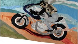Vivienne PENGILLEY, Ducati Trip  1977 (detail), Hand-stitched applique wall hanging: velvet, denim, lame, chrome mylar, tulle, lace, taffeta, bugle beads, sequins, chain, rabbit fur, padlock, zip,  Purchased with the assistance of the Australia Council Crafts Board, 1978