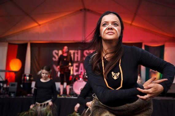 Stacie Piper and Djirri Djirri dancers at Smith Street Dreaming Festival. Photo: James Henry