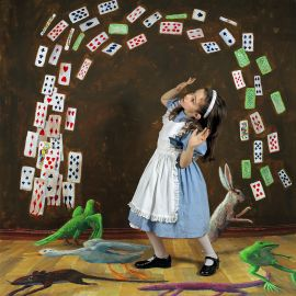 EXHI056465_RGB Polixeni Papapetrou Flying cards 2004 from the Wonderland series 2004 type C photograph 105.0 x 105.0 cm  Private collection © The estate of Polixeni Papapetrou, Michael Reid Gallery (Sydney) and Jarvis Dooney (Berlin)