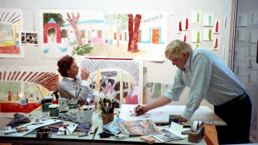 "Kenneth Taylor, David Hockney works on a preparatory sketch for ""An image of Gregory"" in the Tyler Graphics Studio, October 1984, digital file from colour photographic negative"