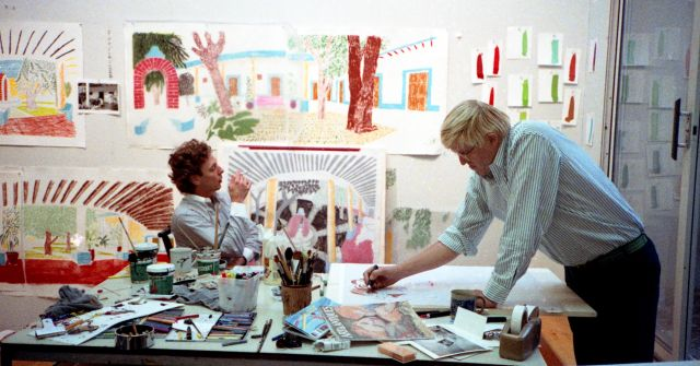 """Kenneth Taylor, David Hockney works on a preparatory sketch for """"An image of Gregory"""" in the Tyler Graphics Studio, October 1984, digital file from colour photographic negative"""