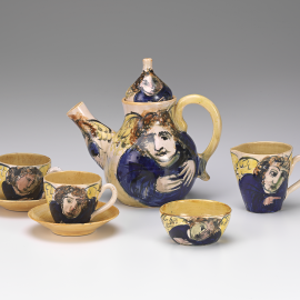 Arthur Merric Boyd Pottery, Murrumbeena, Melbourne (manufacturer) | Arthur Boyd (potter and decorator) | Tea service 1948 | Earthenware National Gallery of Victoria, Melbourne | Purchased from Admission Funds, 1983 (D26.a-h-1983) © Arthur Boyd's work reproduced with the permission of Bundanon Trust.