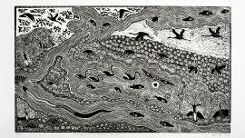 Badger Bates, Warrego Darling Junction, Toorale, 2012. Linoprint.