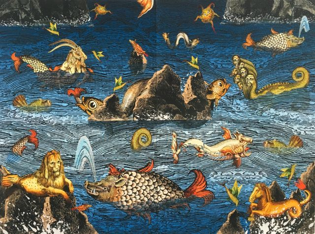 BALLARAT Milan Milojevic, Sea of monsters, 2019. woodblock and digital print. Collection of the Art Gallery of Ballarat. Courtesy of the artist and Tacit Galleries