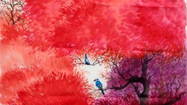 WHITEHORSE Chijian Ye_Blue Birds_2016 silk dyes on silk