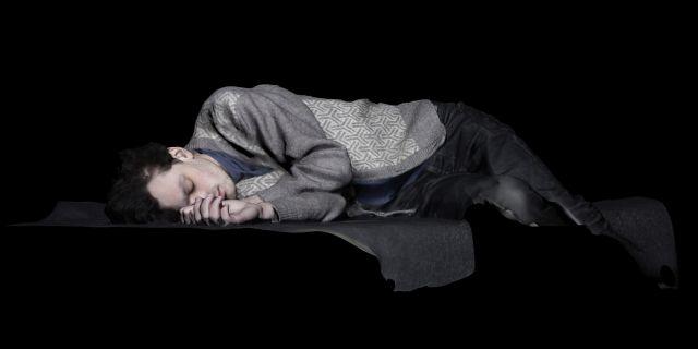 Jacqueline Felstead, James Asleep, 2019, film still from photogrammetric model, 200 x 100 cm. Courtesy of the artist.