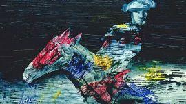 Sidney Nolan The Myth Rider 1958–59 (detail) polyvinyl acetate on composition board 122 x 152 cm Private Collection © The Trustees of the Sidney Nolan Trust / Bridgeman Images Photo © Agnew's, London / Bridgeman Images