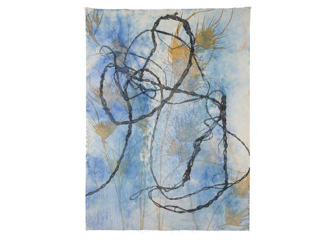 Geelong Gallery, standing stone, kangaroo grass, bush string, a painting by Judy Watson.