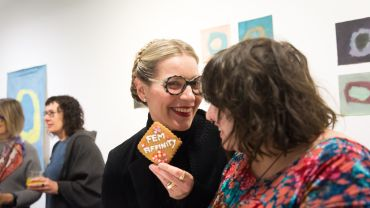 Image Credit: Catherine Bell and Eden Menta at 'FEM-aFFINITY' exhibition opening, Arts Project Australia, 2019. Photograph: Kate Longley