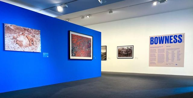 Exhibition view featuring (L-R) LONG + STENT Mineral growth  2019 from the series Touching pool pigment ink-jet print 72.0 x 108.0 cm courtesy of the artists and ARC ONE Gallery (Melbourne) John GOLLINGS Mt Baw Baw  2019 from the series Aerial landscape pigment ink-jet print 92.0 x 137.8 cm courtesy of the artist Stephen DUPONT The caravan  2020 from the series Are we dead yet? pigment ink-jet print 80.0 x 100.0 cm courtesy of the artist Christain THOMPSON Rule of three  2020 chromogenic prints 250.0 x 250.0 cm courtesy of the artist, Sarah Scout Presents (Melbourne) and Michael Reid (Sydney + Berlin)