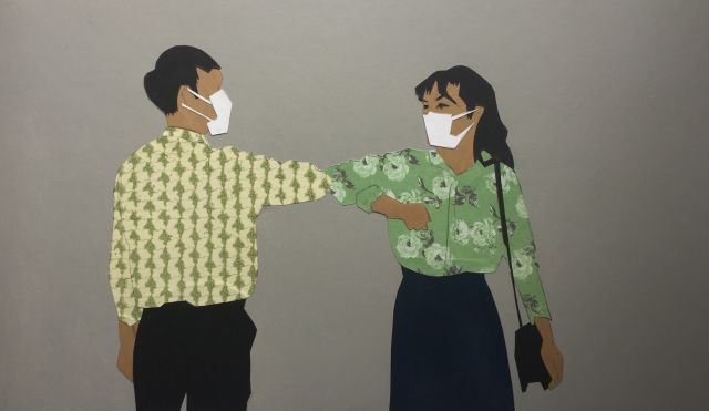 Gregory Alexander, Elbow bump 2020, collage on card, 29 x 40 cm. Courtesy the artist.