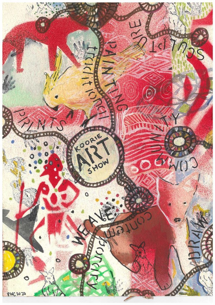 Peter Waples-Crowe (Ngarigo) Koorie Art Show 2020 poster design.