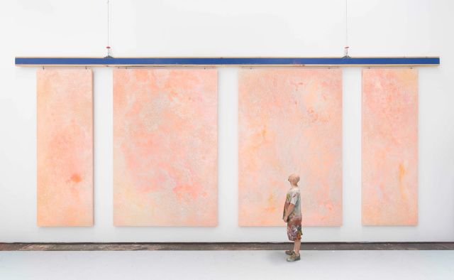 Ash Keating, Aerial # 1 - #4, 2020, pigment, urethane acrylic, perlite and mica flakes on canvas. Photograph by Matthew Stanton.