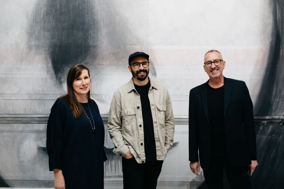 Lisa Sullivan, Tyrone Wright and Jason Smith. RONE in Geelong Exhibition opening, Geelong Gallery 2021. Photo Timothy Marriage-54 (1)