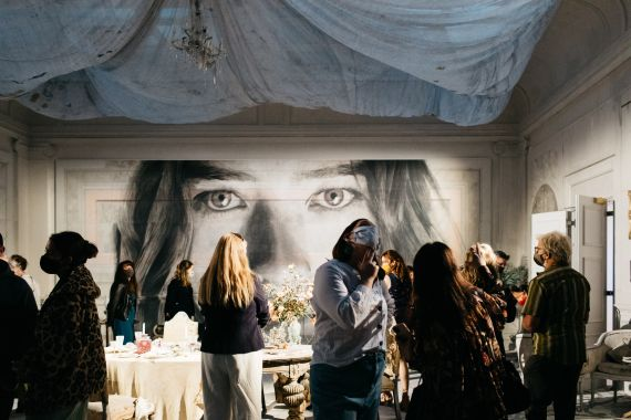 RONE in Geelong Exhibition opening, Geelong Gallery 2021. Photo Timothy Marriage-17