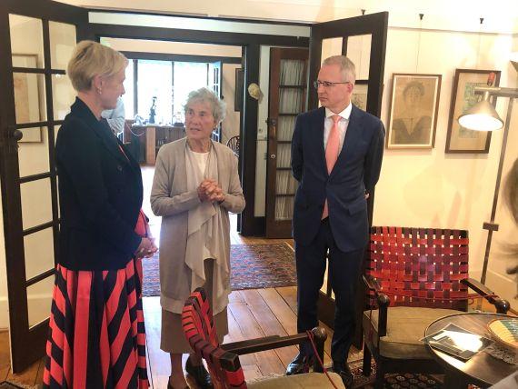 Katie Allen, Duldig Studio Founder, Eva de Jong-Duldig andThe Hon. Mr Paul Fletcher MP with the two chairs in-situ at the Duldig Studio, March 2021.