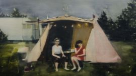 Dani McKenzie, Camp 2019, oil on linen, 61.5 x 87 cm. Bayside City Council Art and Heritage Collection. 2019 Bayside Acquisitive Art Prize Winner