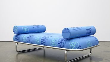 Darren Sylvester Fillet-O-Fish 2017 screenprinted Danish wool, stainless steel 50 x 202 x 102 cm Monash University Collection, Melbourne Purchased 2019