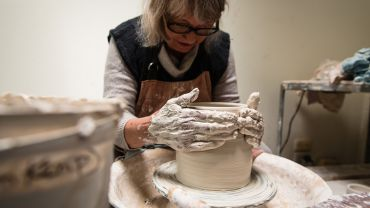Open Studios artist Lee Goller, photo by Cathy Rolands