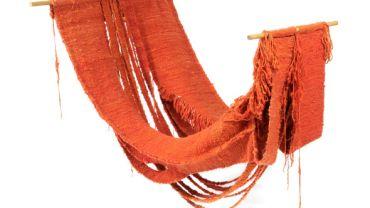John Corbett, Hammock, 1974, wool, dye, 43 x 213 x 128cm. Ararat Regional Art Gallery Collection.