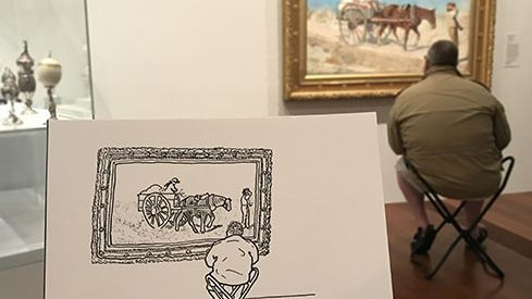 Kenny Pittock, Me drawing Phil Jupitas drawing McCubbin 2017, digital photograph of felt tipped pen on paper. Image courtesy of the artist.