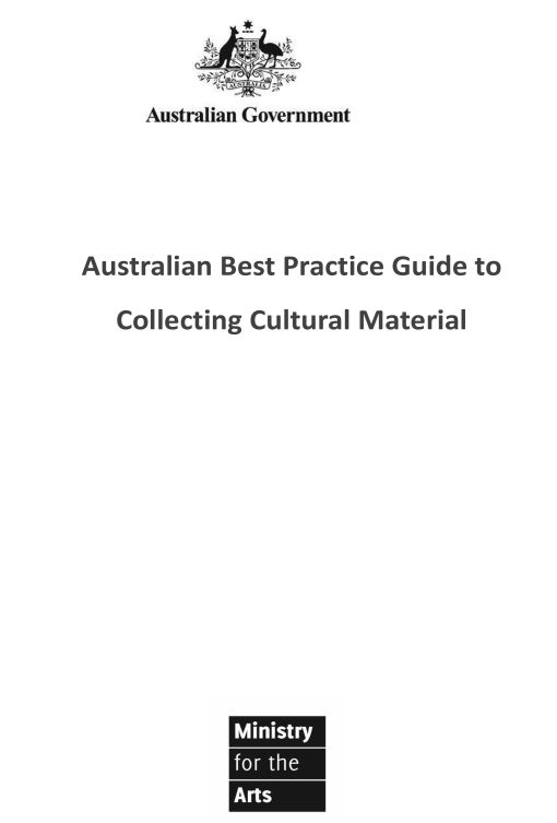 REPORT Industry cover, Australian Best Practice Guide to Collecting Cultural Material-1