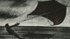 Geoffrey Ricardo, Factory Kite, 1991. Etching and drypoint. Mildura Arts Centre Collection, acquired 1992.
