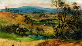 Arthur BOYD The wheatfield 1948 Oil on composition board National Gallery of Victoria, Melbourne The Joseph Brown Collection. Presented through the NGV Foundation by Dr Joseph Brown AO OBE, Honorary Life Benefactor, 2004  © Arthur Boyd's work reproduced with the permission of Bundanon Trust